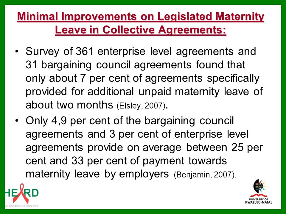 Minimal Improvements on Legislated Maternity Leave in Collective Agreements: