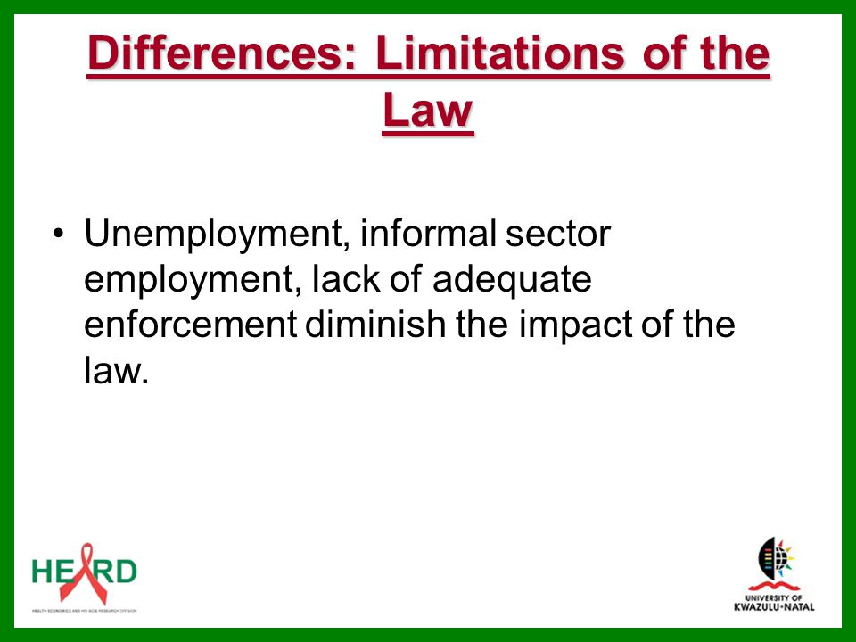 Differences: Limitations of the Law