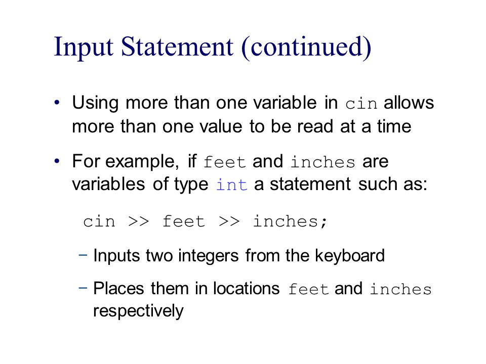 Input Statement (continued)