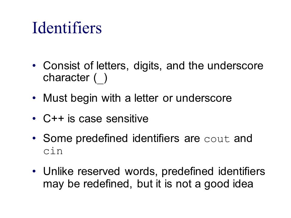 Identifiers Consist of letters, digits, and the underscore character (_) Must begin with a letter or underscore.