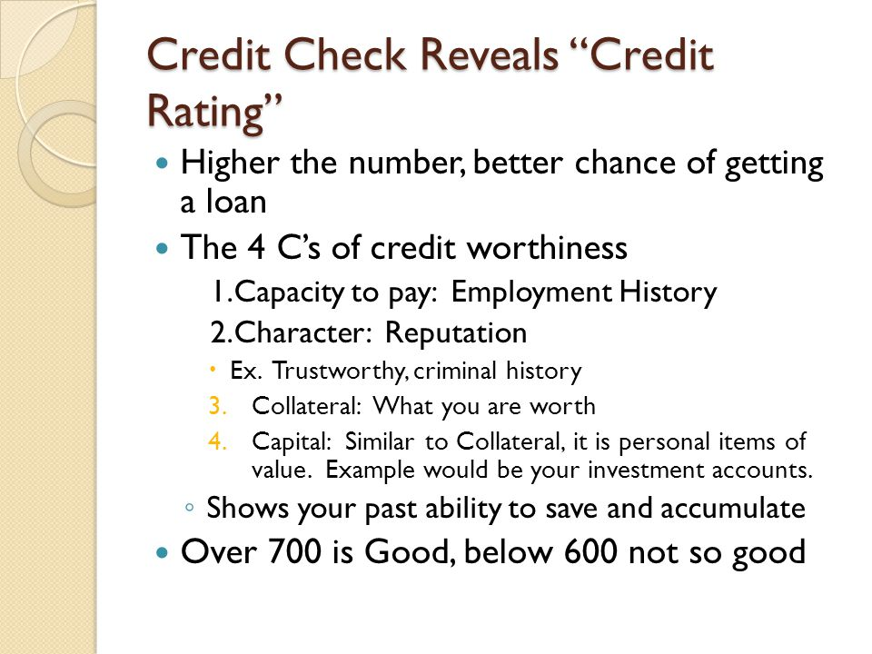 Credit Check Reveals Credit Rating