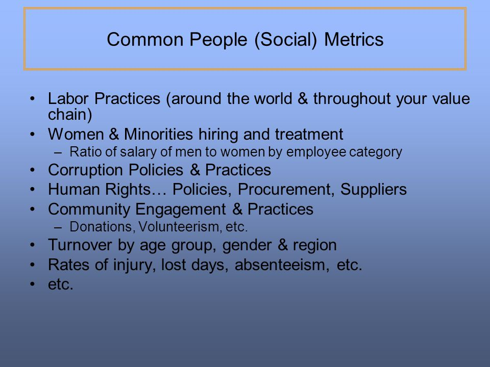 Common People (Social) Metrics