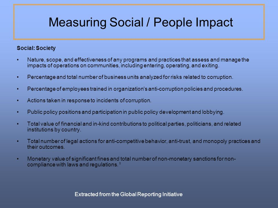 Measuring Social / People Impact