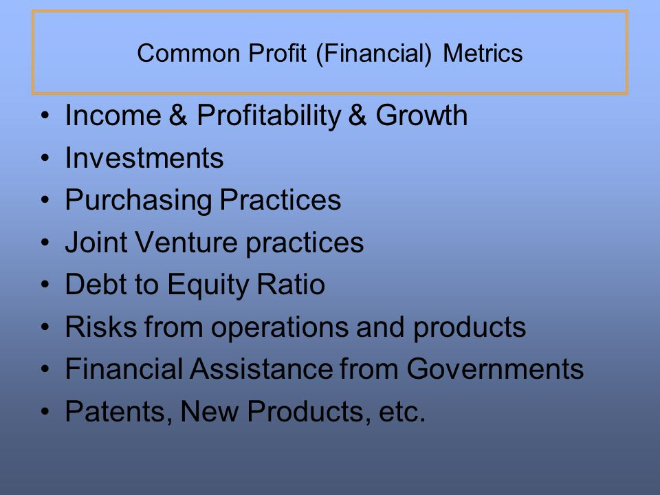 Common Profit (Financial) Metrics