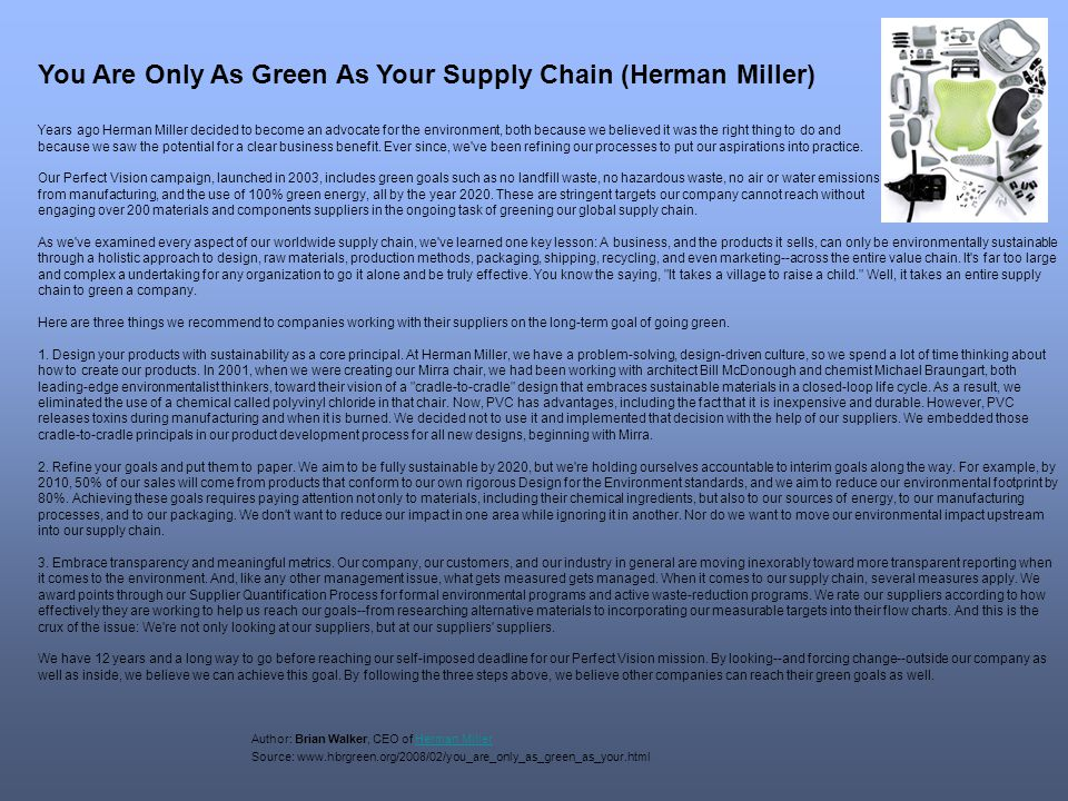 You Are Only As Green As Your Supply Chain (Herman Miller)