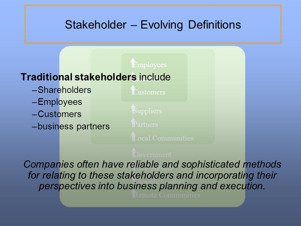 Stakeholder – Evolving Definitions
