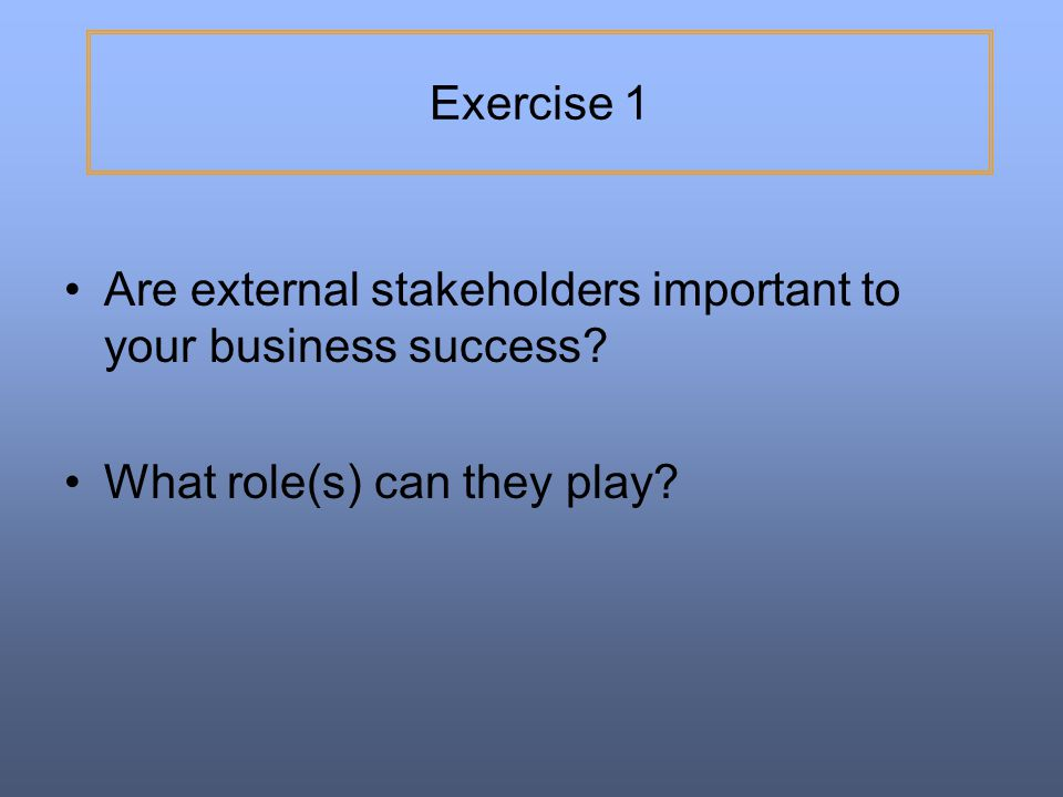 Exercise 1 Are external stakeholders important to your business success.