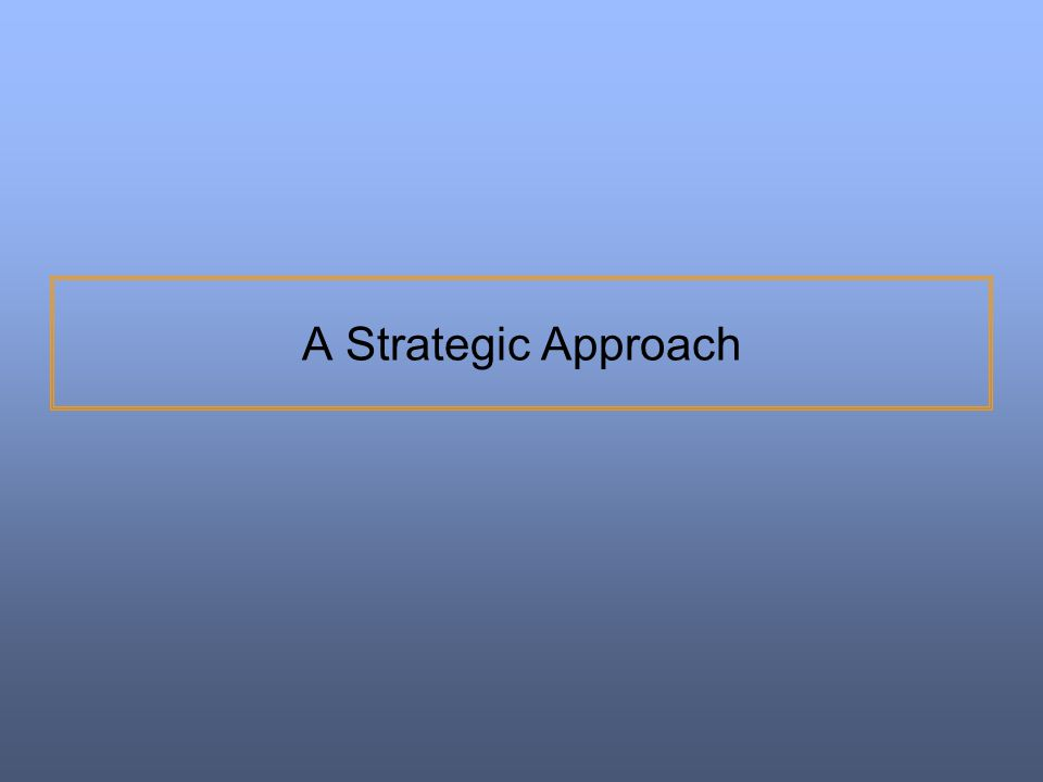 A Strategic Approach