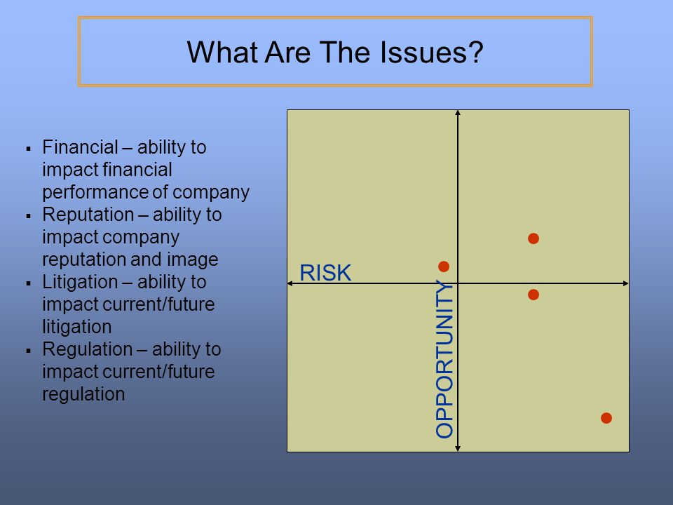 What Are The Issues RISK OPPORTUNITY