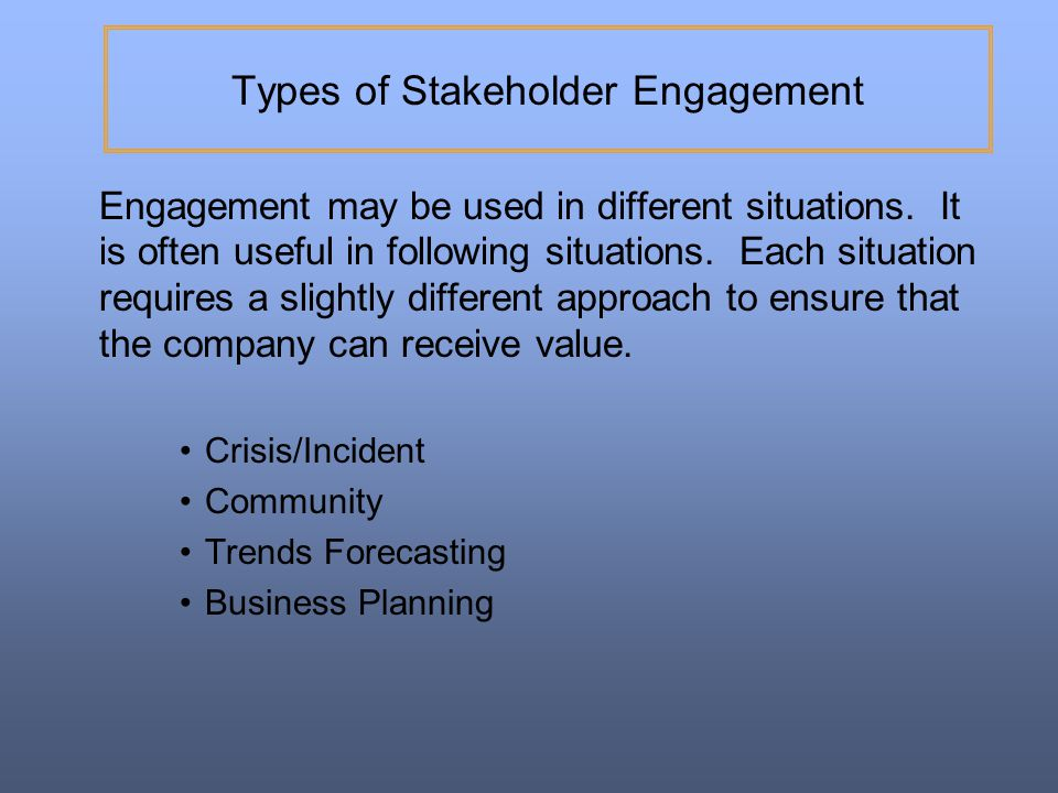 Types of Stakeholder Engagement