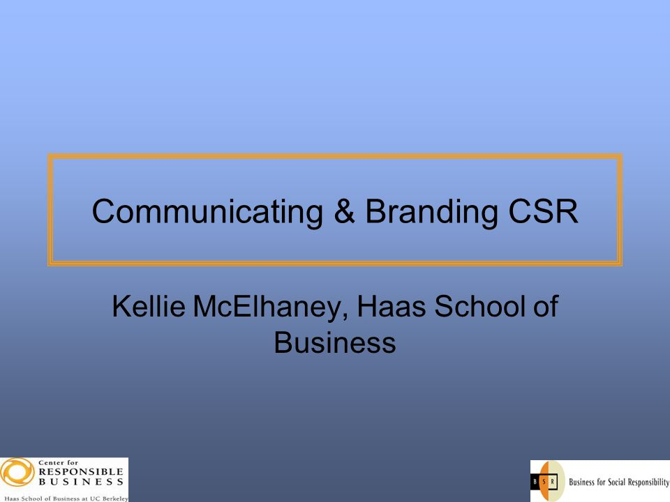Communicating & Branding CSR