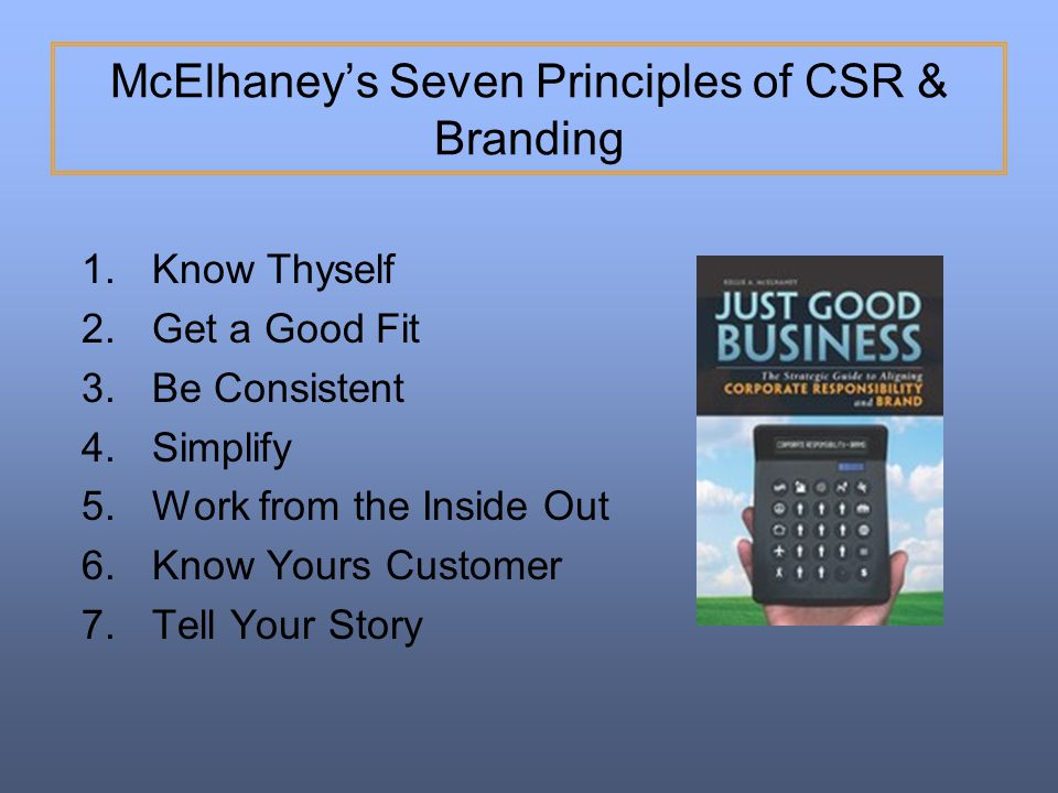 McElhaney's Seven Principles of CSR & Branding
