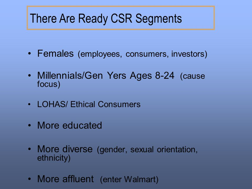 There Are Ready CSR Segments