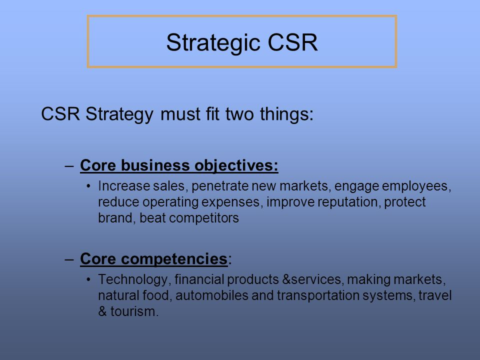 Strategic CSR CSR Strategy must fit two things: