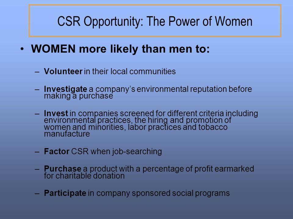 CSR Opportunity: The Power of Women