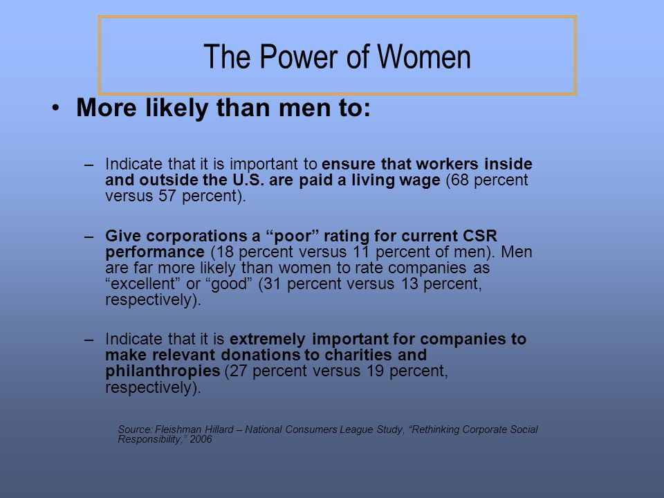 The Power of Women More likely than men to: