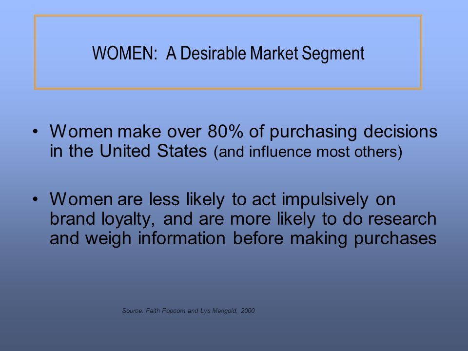 WOMEN: A Desirable Market Segment