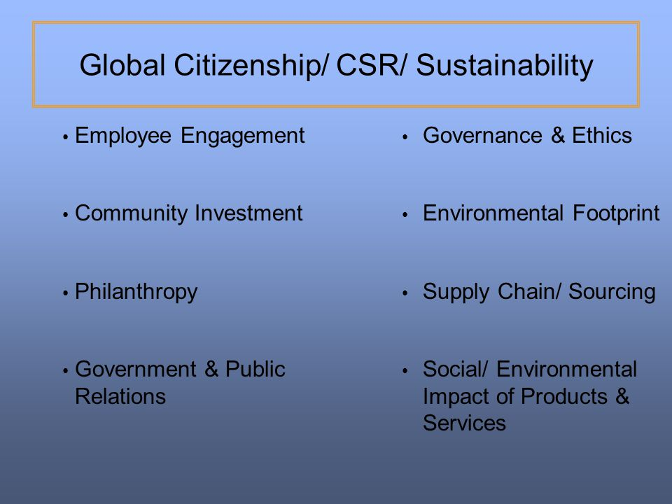 Global Citizenship/ CSR/ Sustainability
