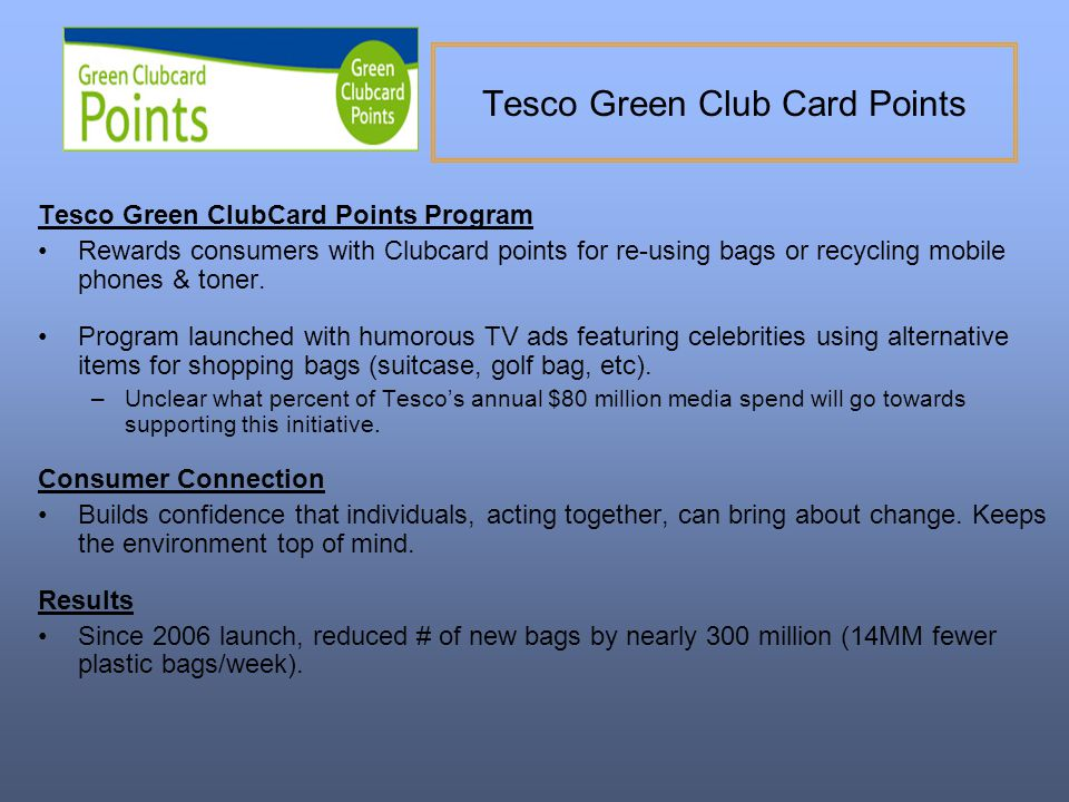 Tesco Green Club Card Points