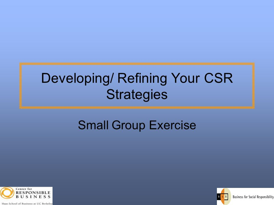 Developing/ Refining Your CSR Strategies