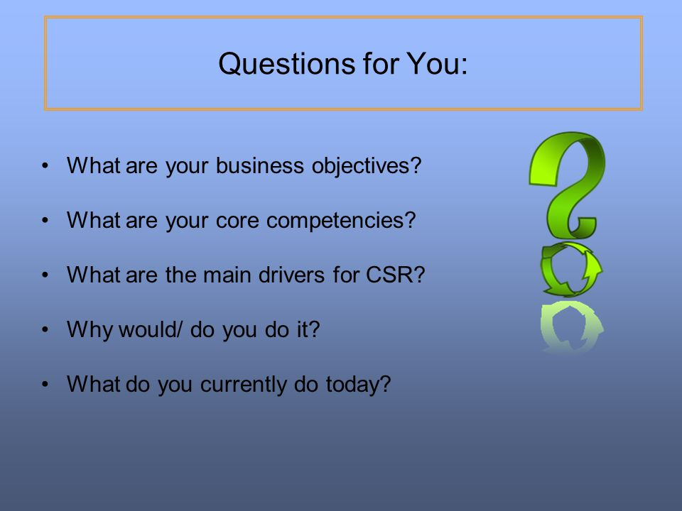 Questions for You: What are your business objectives