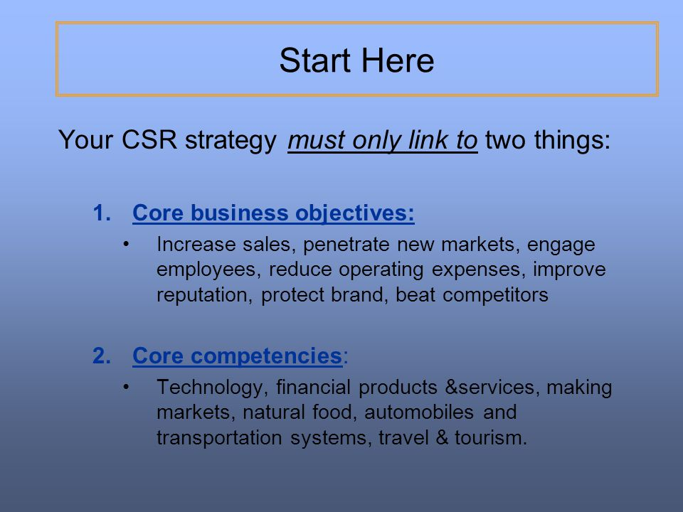 Start Here Your CSR strategy must only link to two things: