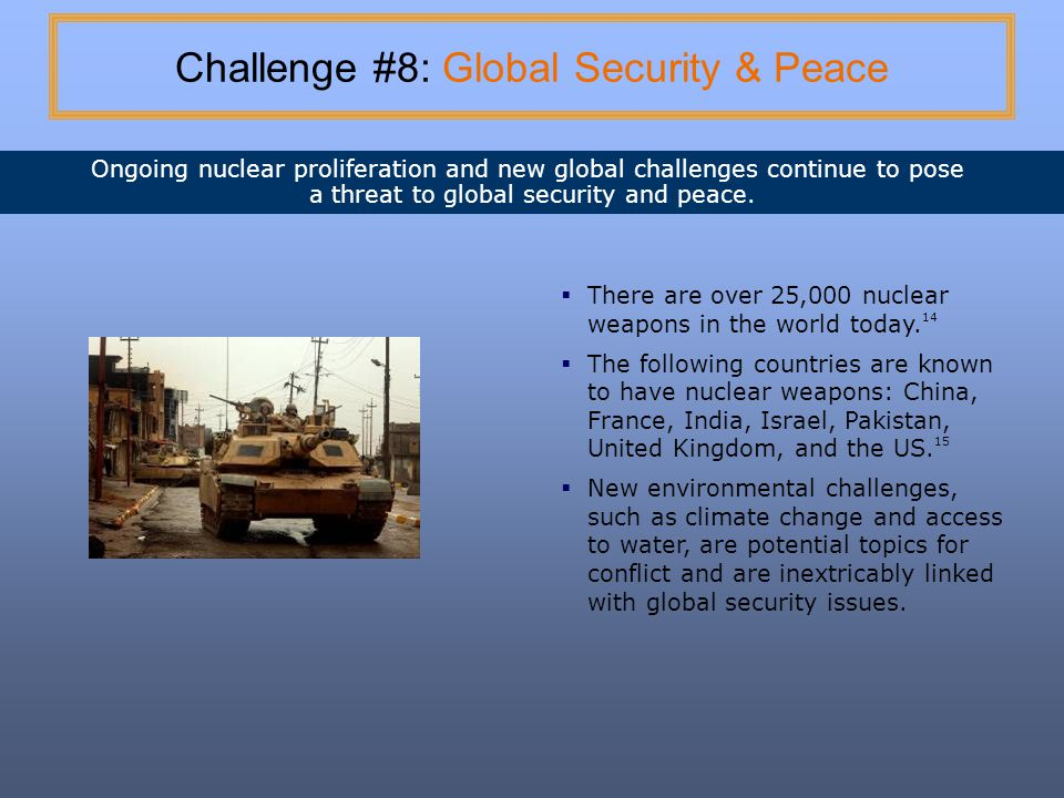 Challenge #8: Global Security & Peace