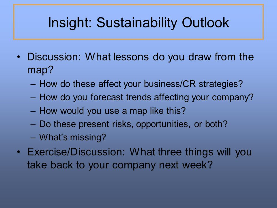 Insight: Sustainability Outlook