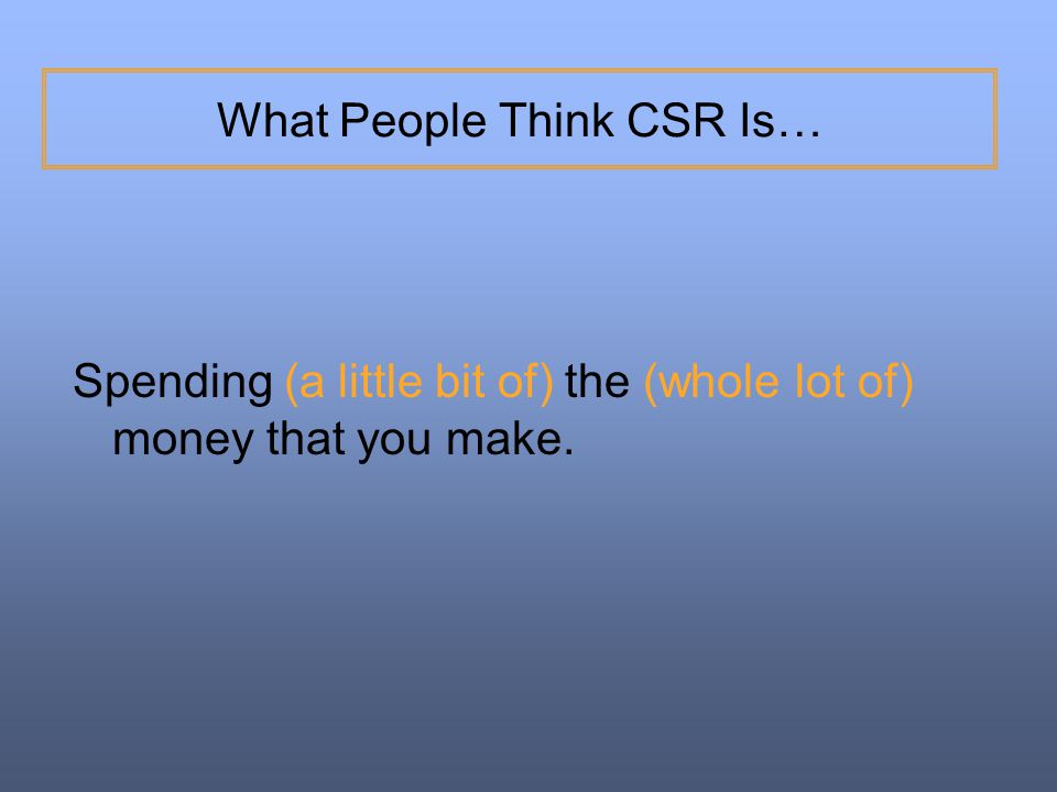 What People Think CSR Is…