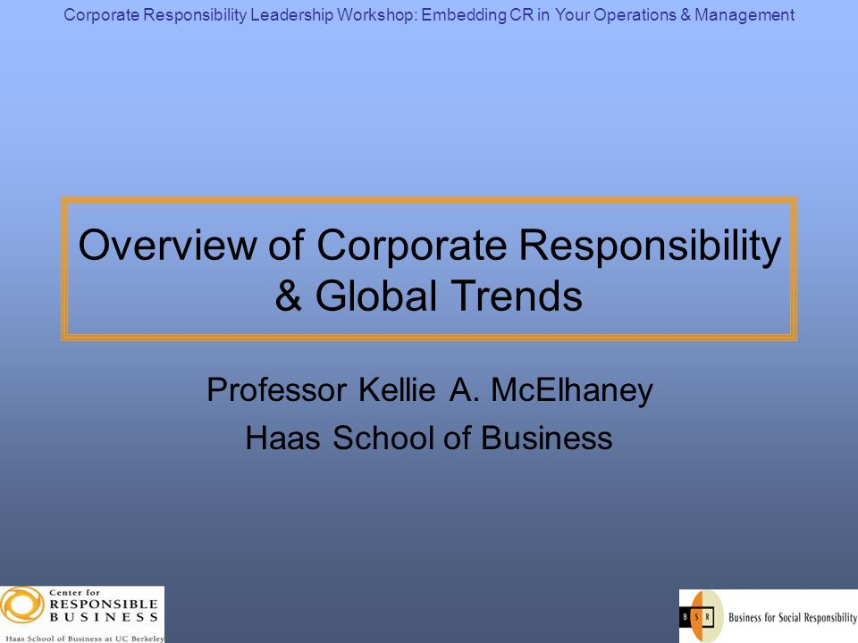 Overview of Corporate Responsibility & Global Trends