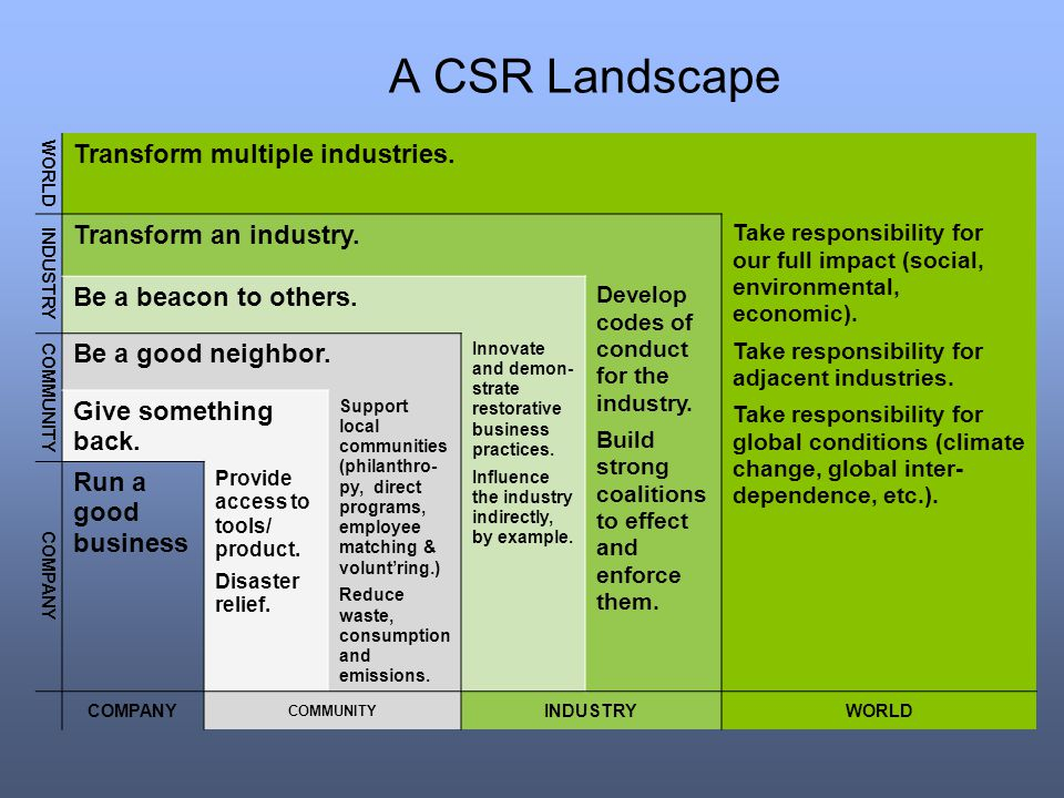A CSR Landscape Transform multiple industries. Transform an industry.