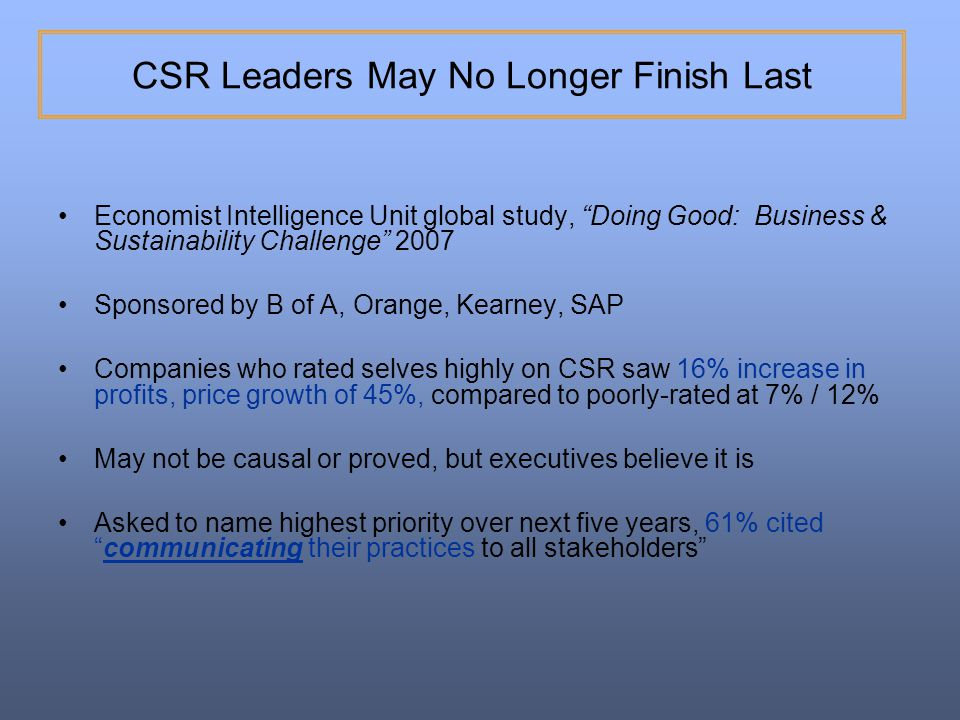 CSR Leaders May No Longer Finish Last