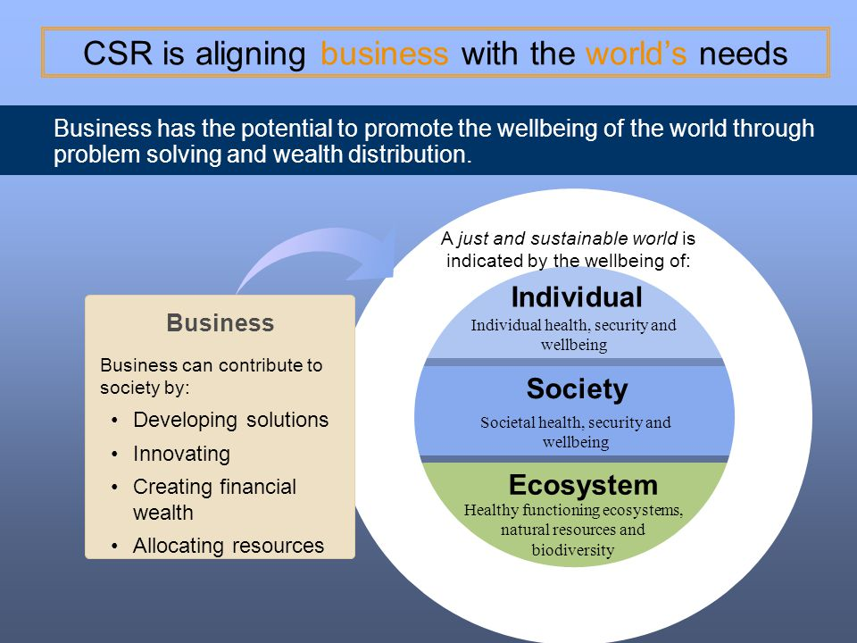 CSR is aligning business with the world's needs