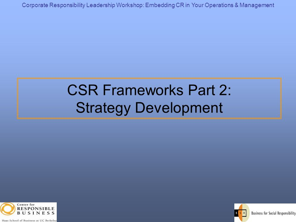 CSR Frameworks Part 2: Strategy Development