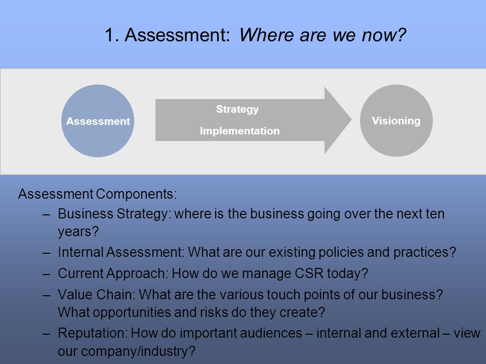 1. Assessment: Where are we now