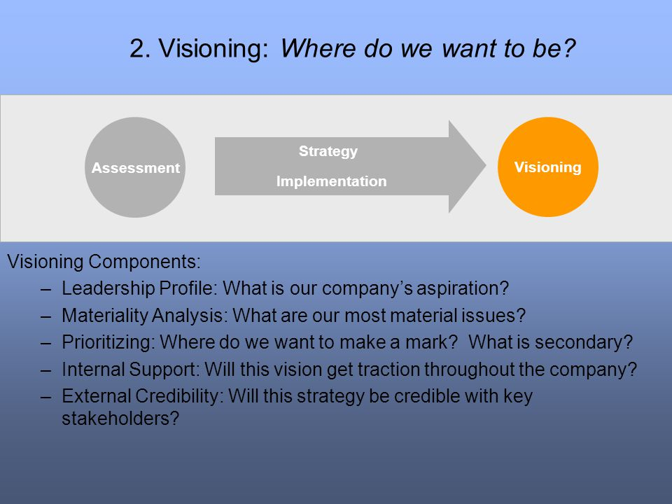 2. Visioning: Where do we want to be