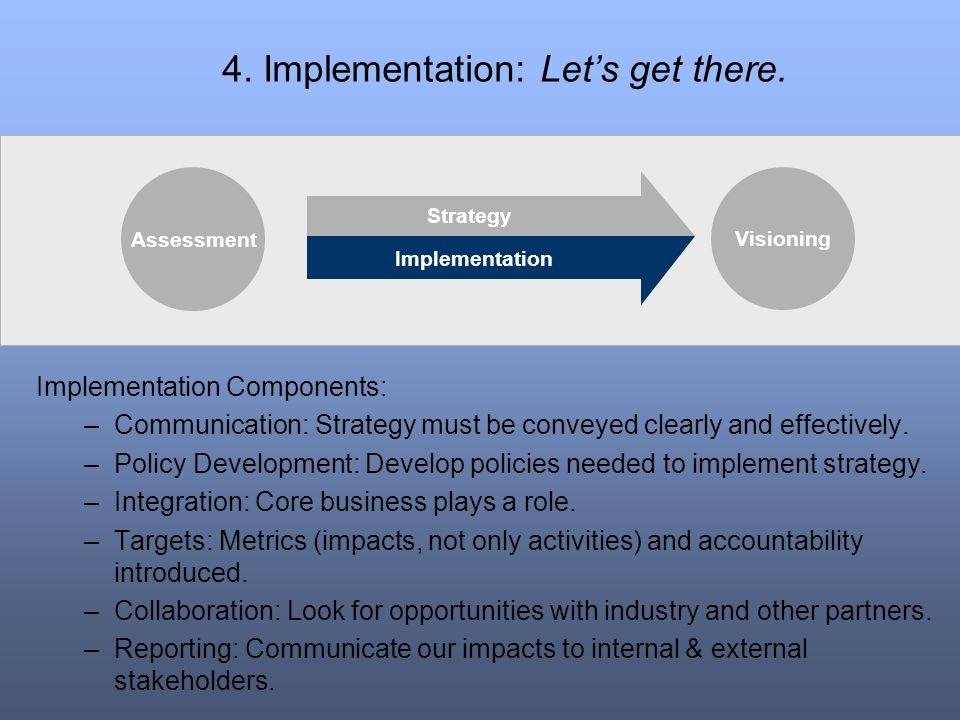 4. Implementation: Let's get there.