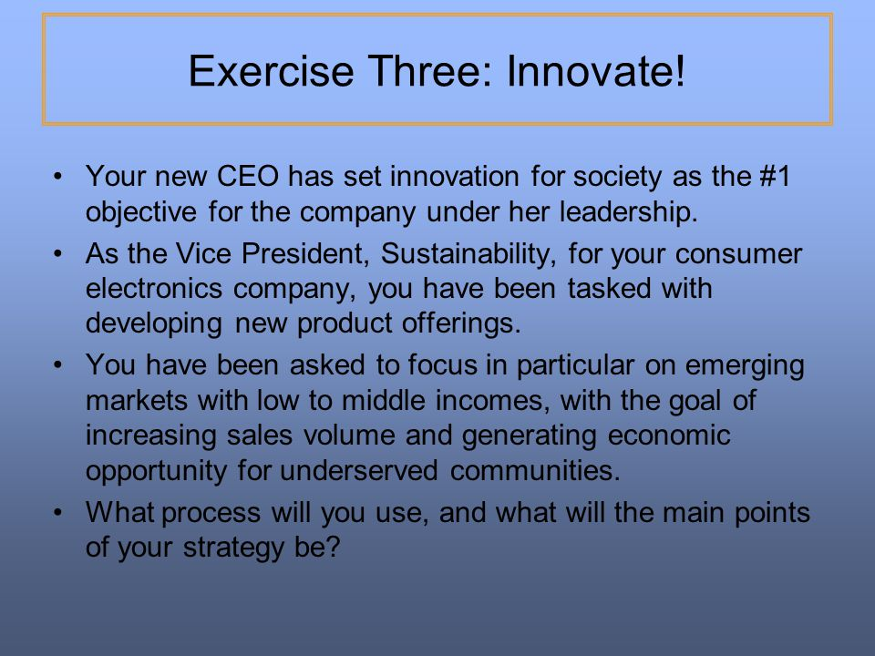 Exercise Three: Innovate!