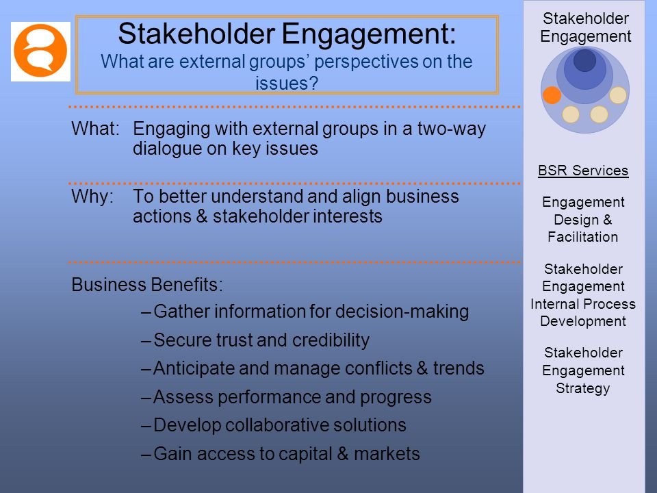 BSR Services Engagement Design & Facilitation. Stakeholder Engagement Internal Process Development.