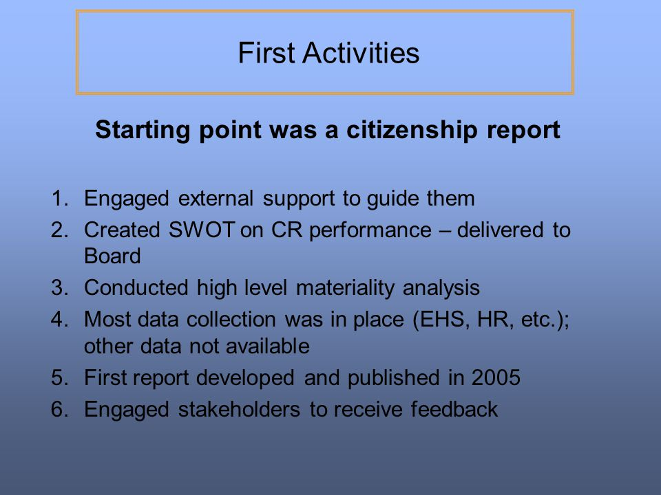 Starting point was a citizenship report