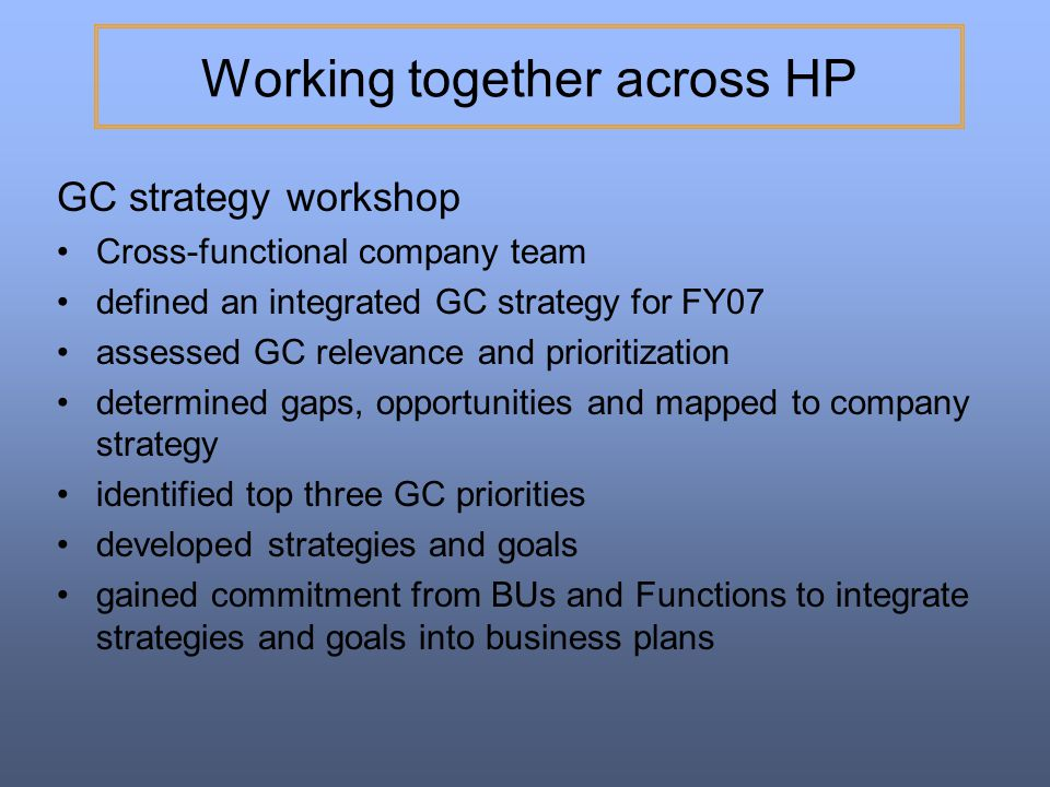 Working together across HP