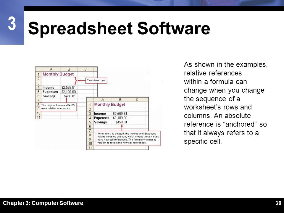 20 spreadsheet software as shown in the examples relative references