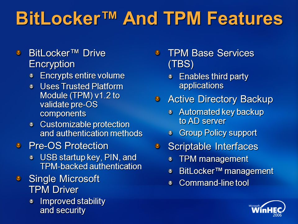 BitLocker™ Drive Encryption Hardware Enhanced Data
