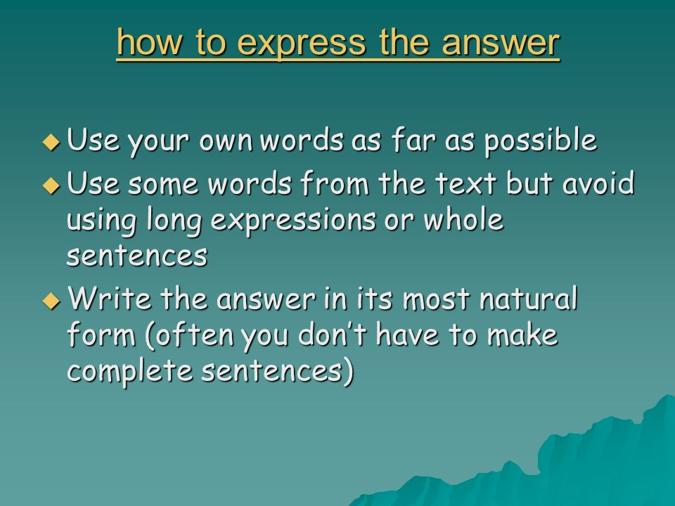 how to express the answer
