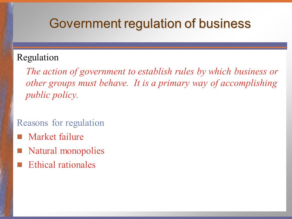 government regulation of business