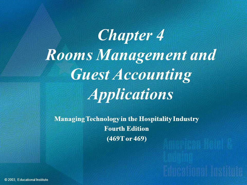 Rooms Management and Guest Accounting Applications