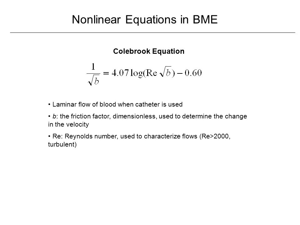 Nonlinear Equations in Biomedical Engineering - ppt download