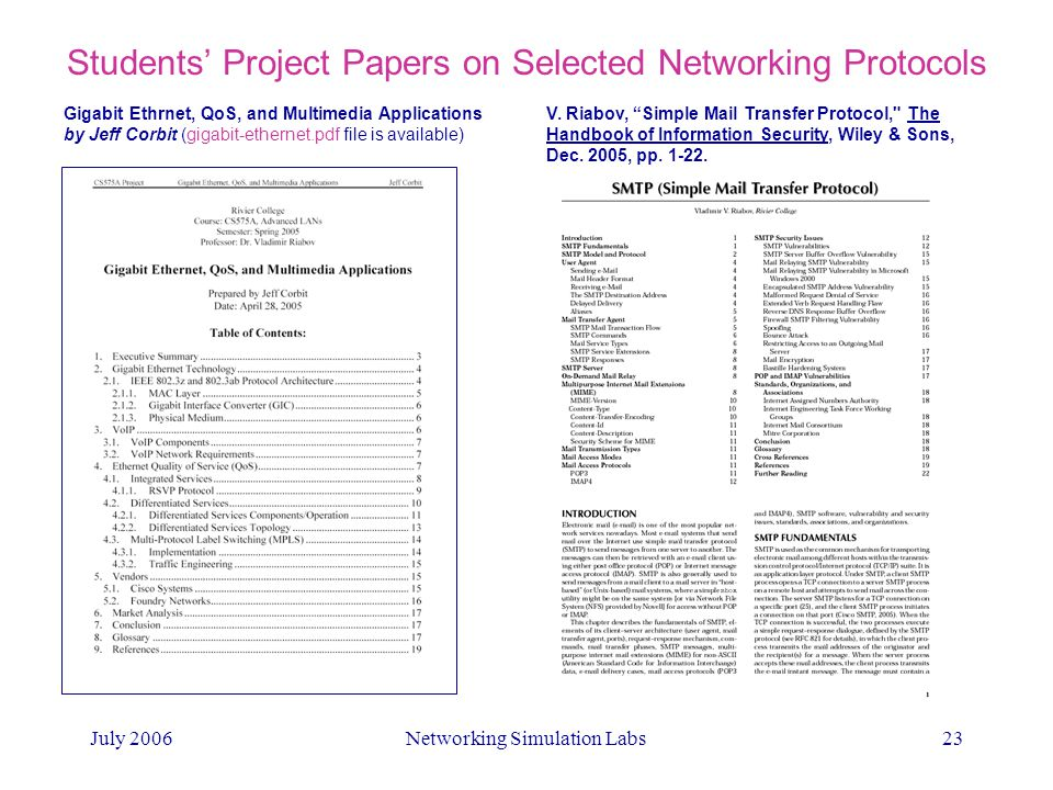 Networking Simulation Labs in Web-enhanced IT Classes - ppt video