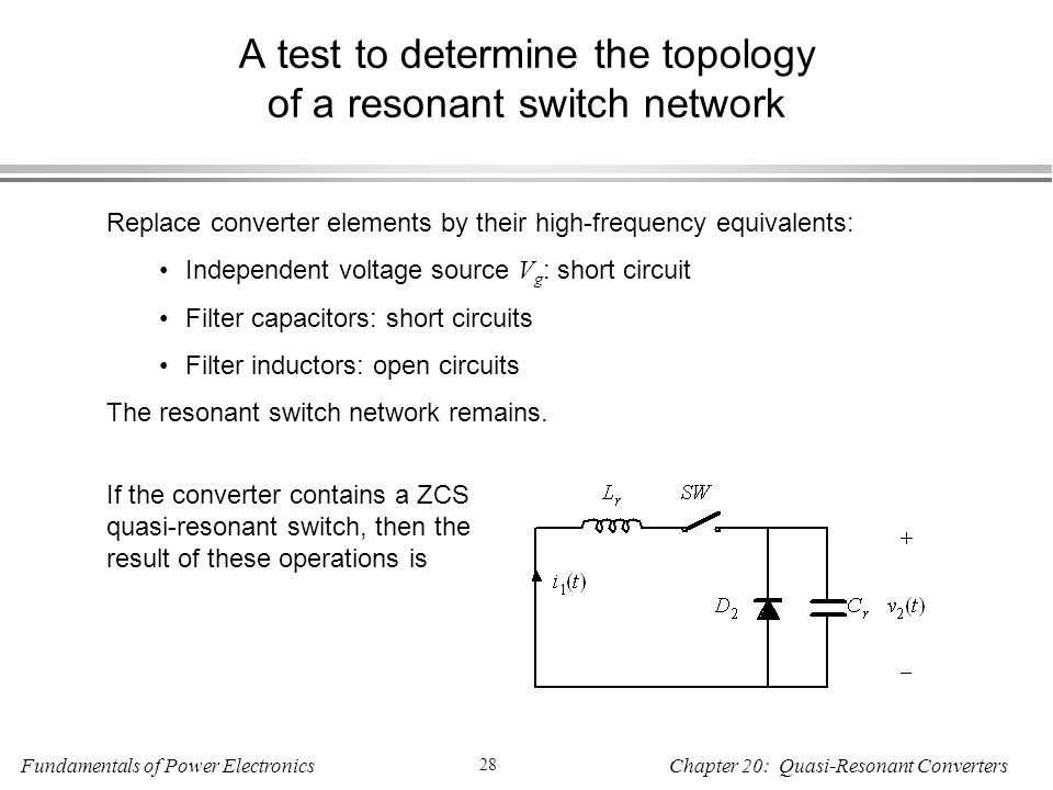 A test to determine the topology of a resonant switch network