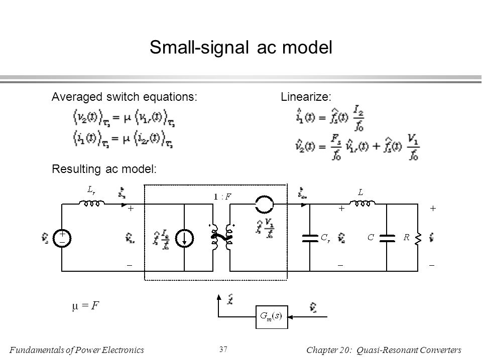 Small-signal ac model Averaged switch equations: Linearize: